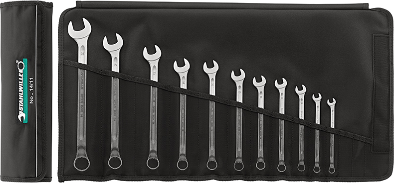 Stahlwille 14 Sets: Combination spanners OPEN-BOX, long, No 14/11