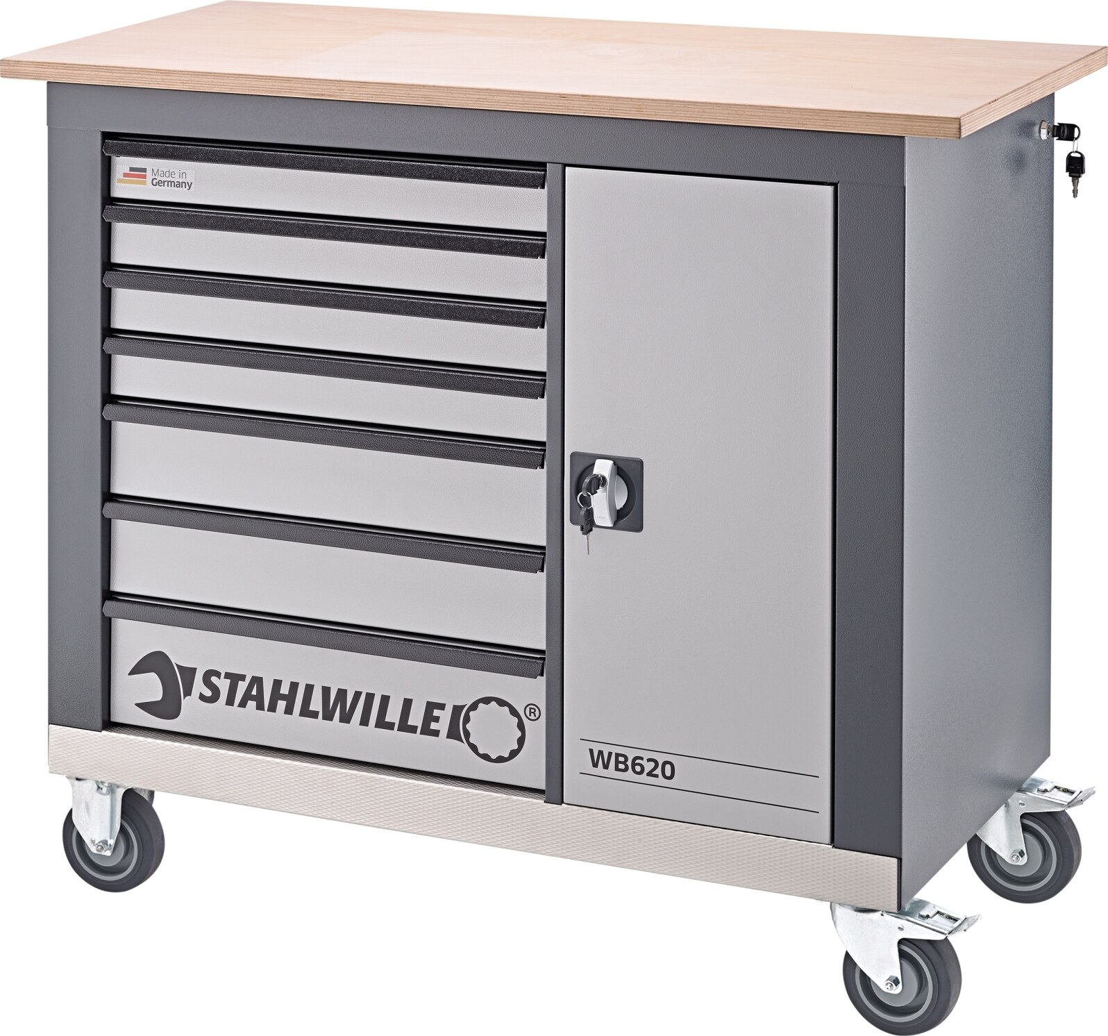 Stahlwille Mobile workbench 7 drawers charcoal grey, RAL 7016 L.1150 mm x W.500 mm x H.1030 mm, No WB620_85010620_e.jpg